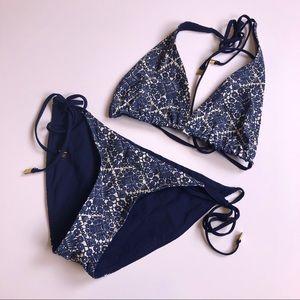 TORY BURCH Blue Cream Pattern Bikini XS